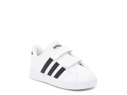 Men's Boys Baseline Infant & Toddler Sneaker -White/Black - White/Black
