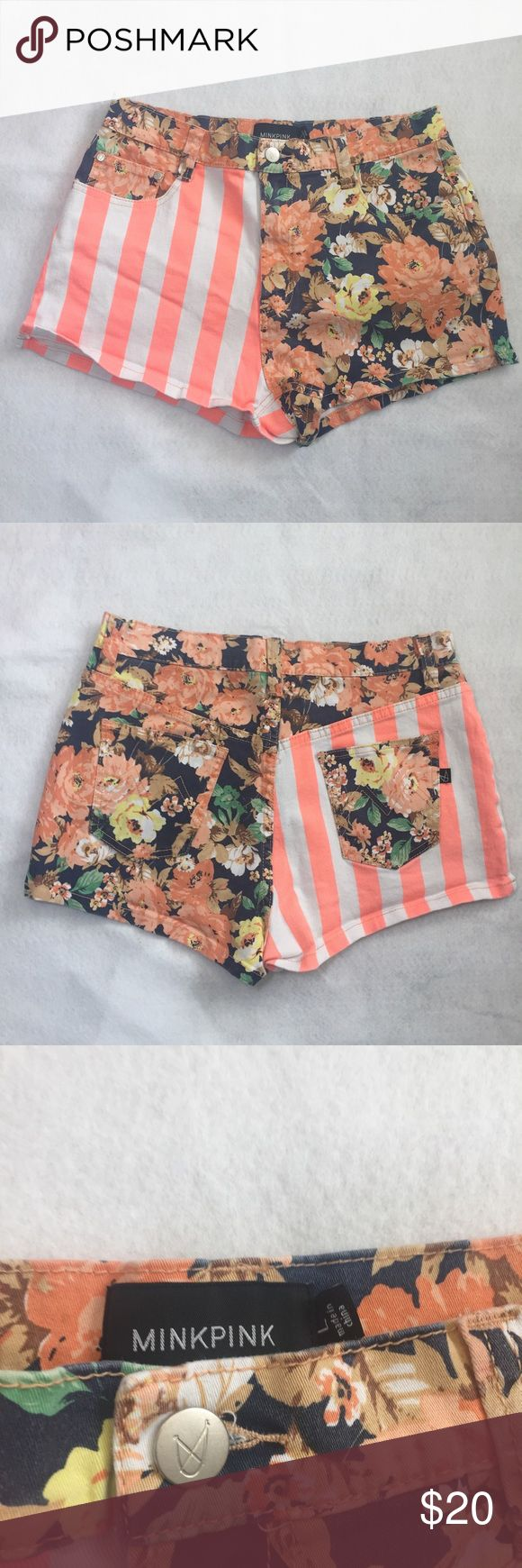 MINKPINK Floral striped denim Women's Shorts Large The PERFECT shorts to welcome Spring! Floral shorts with stripes. The colors are so pretty but not too loud. Denim shorts are a size large. In good used condition. No tears, holes or stains. MINKPINK Shorts Jean Shorts