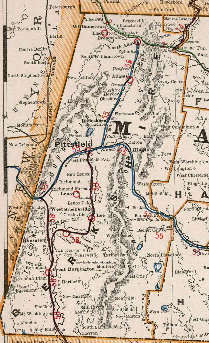 Berkshire County, Massachusetts, 1901, Map, Cram, Pittsfield, Stockbridge,  North