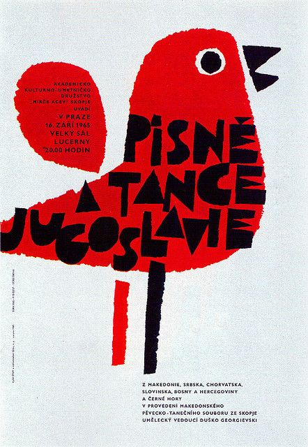 Poster for a performance of Yugoslav songs and dances in Prague. From Graphis Annual 66/67 | Illustrator: Jaroslav Sura