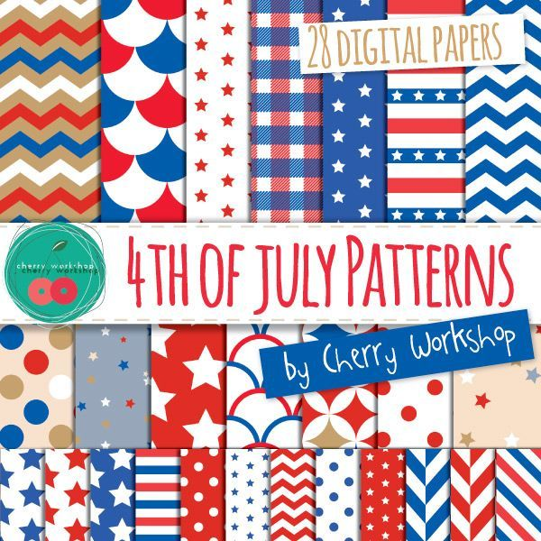 4th of July Digital Paper Patterns for your patriotic designs.