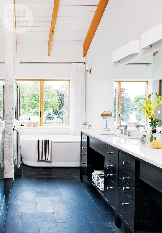 Bathroom design: Custom bathroom vanity with Caesarstone countertop {PHOTO: Donna Griffith}