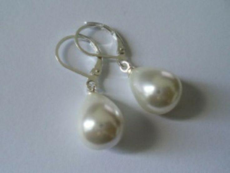 Muschelkernperlen Tropfen Ohrringe Silber 925 Sterlingsilber Hänger weiß b02