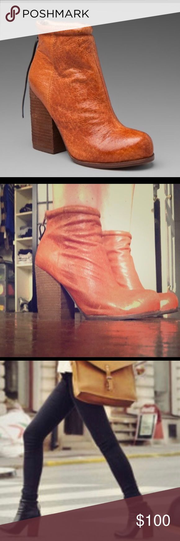 Jeffrey Cambell Rumble Booties brown leather Brown leather Rumble booties only worn a handful of times, which means they're broken in! They were a little stiff and uncomfortable to begin with but now are soft and comfy! Block heel, very little signs of wear, zip closure in back. Size 8.5 Jeffrey Campbell Shoes Ankle Boots & Booties