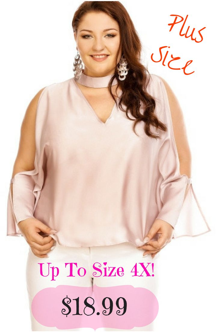 Choker Open Sleeve Keyhole Women's Blouse! Sexy, BBW, Plus Size Fashion, Cute Clothing, Clothes, Big Girls, Bigger Sizes, Super Size, Beautiful, Gold,Pink, Sale, Cheap Plus Size Clothing