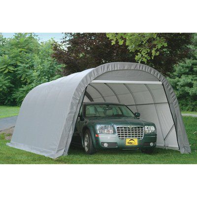 ShelterLogic 12-Ft.W Round-Style Instant Garage — 24ft.L x 12ft.W x 10ft.H, 1 5/8in. Frame, Gray, Model# 74332