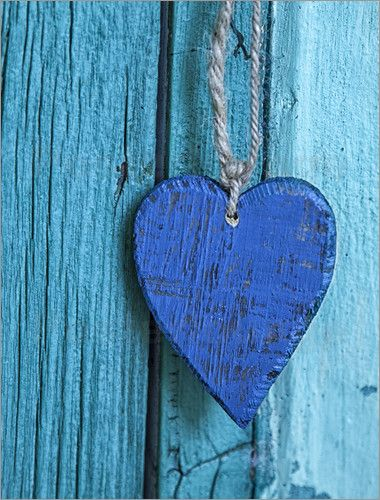 Wandbild von Andrea Haase - Blaues Herz