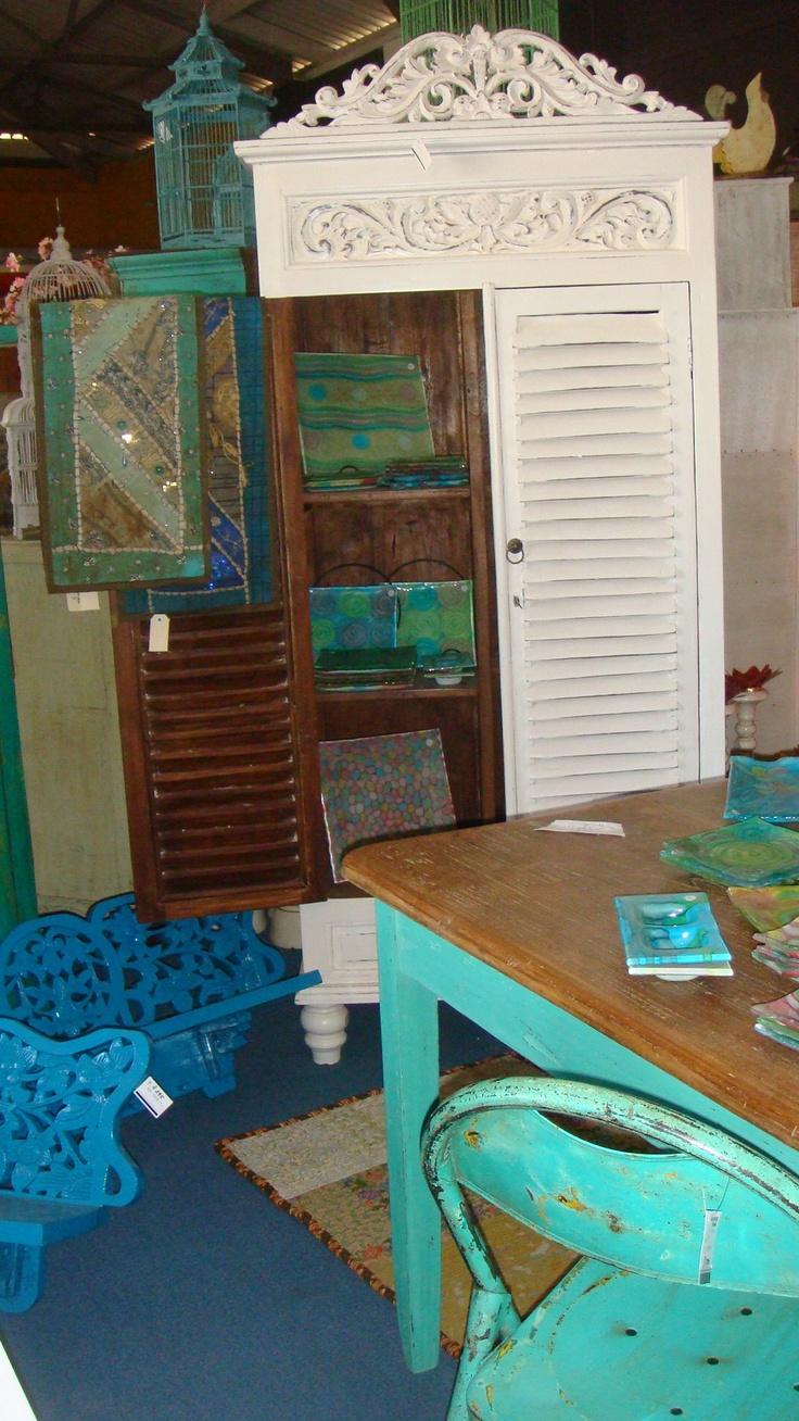 louvre door cupboard, dining table, glass wear...