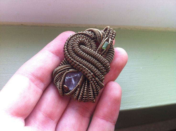 Amethyst and green tourmaline wire wrapped от StoneyWireWorks