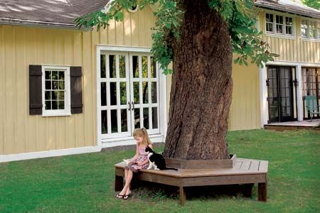 How to Build a Tree Bench  This charming and comfortable place to sit might just become your favorite outdoor spot