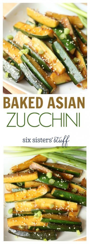 Baked Asian Zucchini recipe | Healthy side dish recipe for dinner. This could easily become a meal on top of some quinoa. @sixsistersstuff