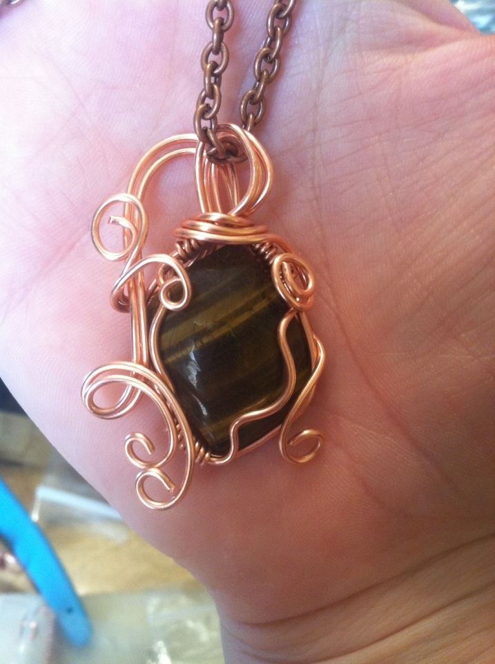 Tiger Eye in copper.  $35.00  https://www.facebook.com/pages/All-chained-up-and-no-where-to-go/153797291359048 | See more about Tiger Eyes, Eye and Copper.