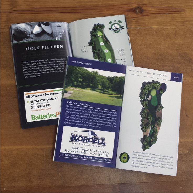Golf course magazine and yardage book design examples. A good idea for small business advertising: http://www.manta.com/cp/mmddl5r/55a54f4dae23f7c30b0d0a87/golf-course-guide-books-advertisements  Golf Course Guide Books & Advertisements - Portland, OR | Manta.com