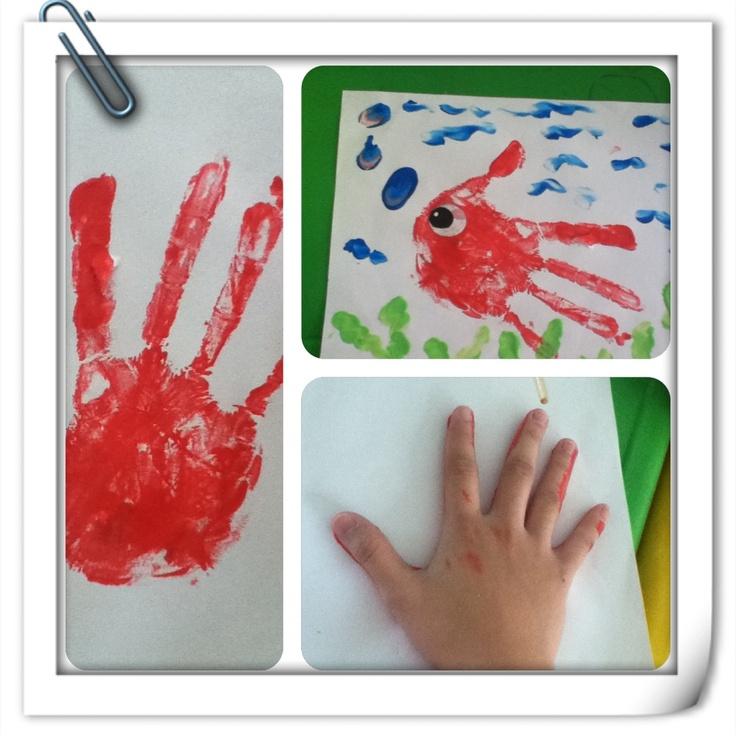 Handprin fish: toddler crafts