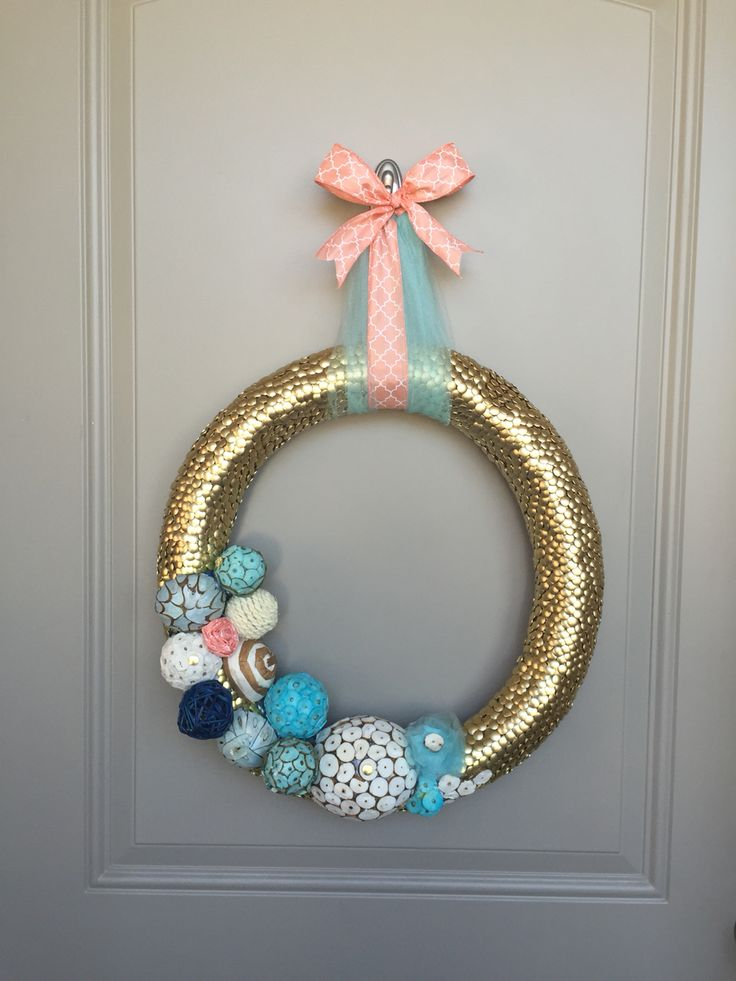 My pool noodle wreath, made from gold tacs!
