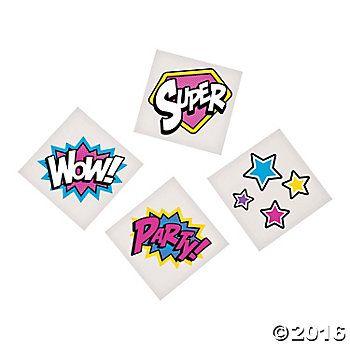Superhero Girl Tattoos - 36 Pk Party Supplies Canada - Open A Party