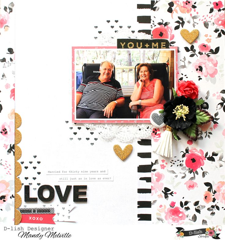 Love | D-lish Scraps Cybercrop Layout | Crate Paper Hello Love patterned papers | D-lish Scraps embellishments