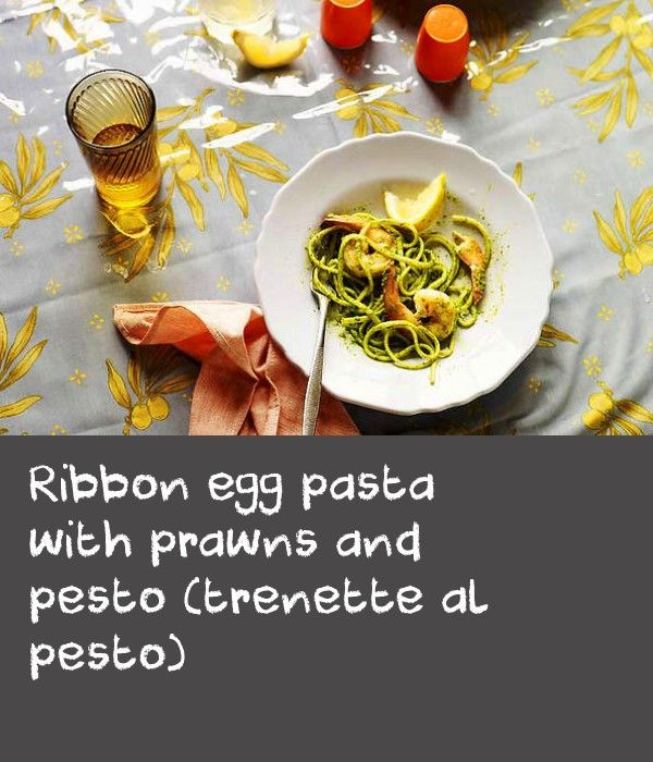 Ribbon egg pasta with prawns and pesto (trenette al pesto) | This dish is classically Ligurian, combining trenette pasta with pesto, which originated in Genoa, Liguria's capital. While trenette (which is rectangular in shape instead of flat like linguine) is available from some Italian food shops and selected delis here, it can be difficult to track down, so we have substituted linguine in this recipe for ease. Refrigerate any leftover pesto in an airtight container in the fridge for up to 1…