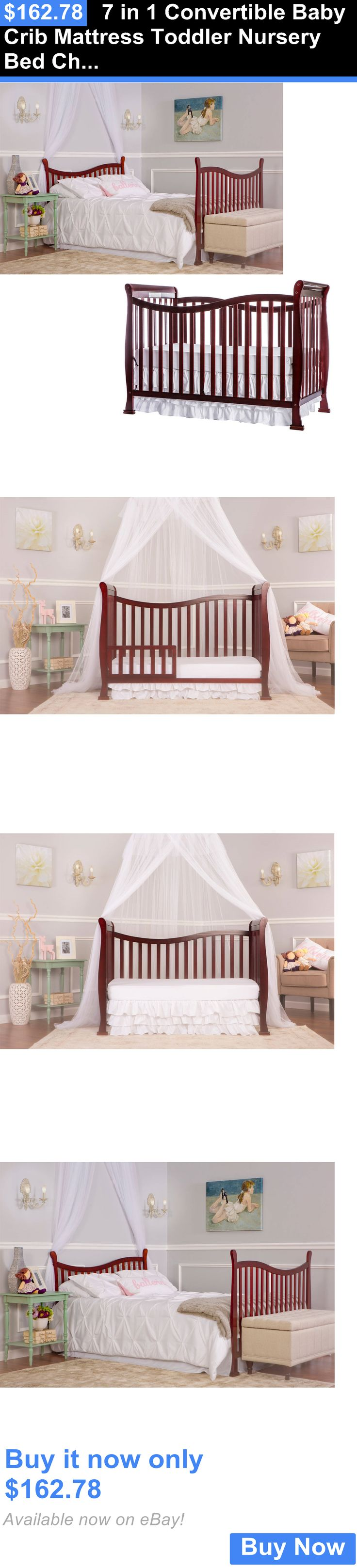 Used crib for sale ebay - Baby Nursery 7 In 1 Convertible Baby Crib Mattress Toddler Nursery Bed Changer Side Buy
