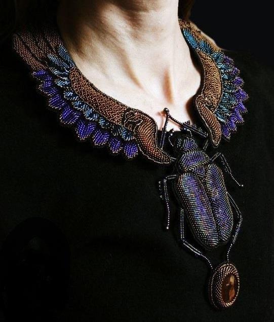 Beaded necklace with a bead embroidered stumpwork beetle by Julia Turova from Krasnoyarsk, Siberia