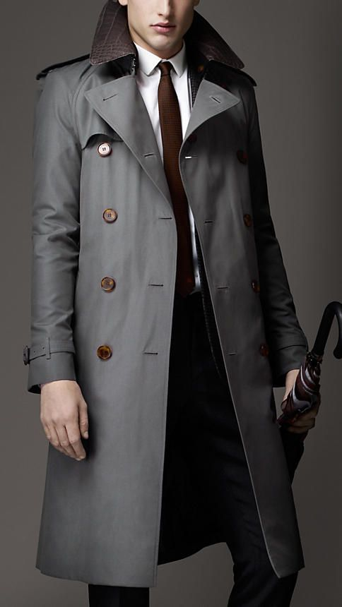 Long Cotton Gabardine Alligator Collar Trench Coat | Burberry #mensfashion