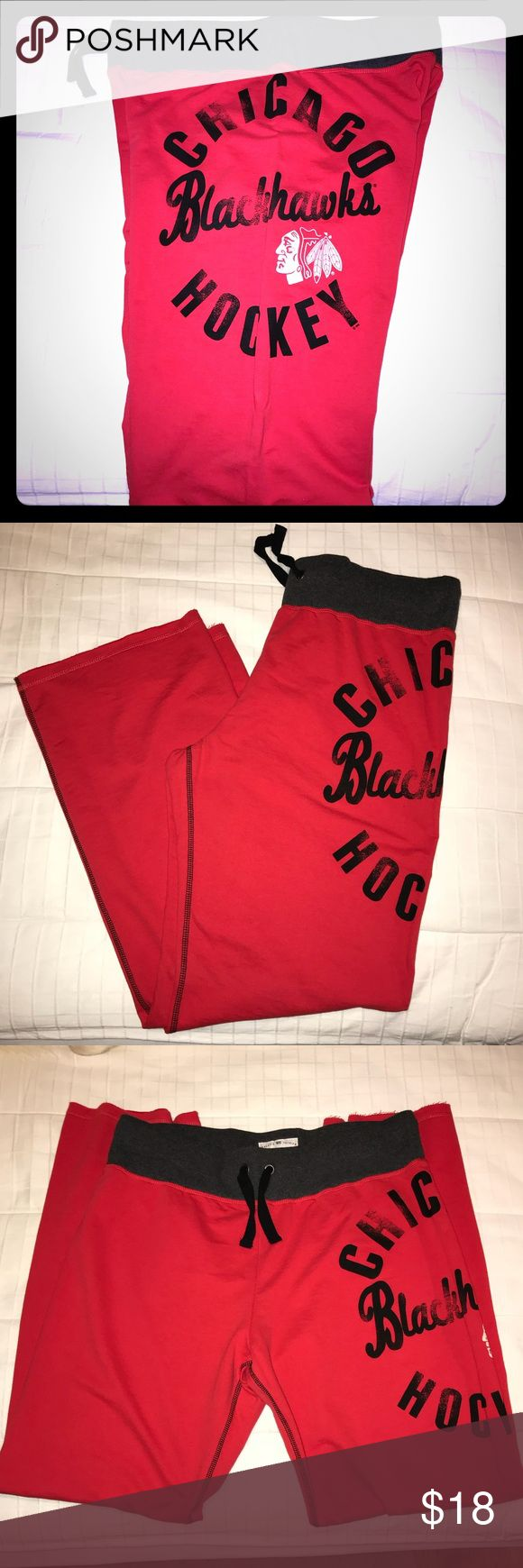 NHL Chicago Blackhawks Red Sweatpants Never worn, they've just been sitting in a drawer. Red sweatpants with Chicago Blackhawks written on the left side, nothing on the right. No pockets. Elastic waistband. Soft fabric. Bundle with another item for a discount or feel free to make an offer. No trades 😊 Majestic Pants