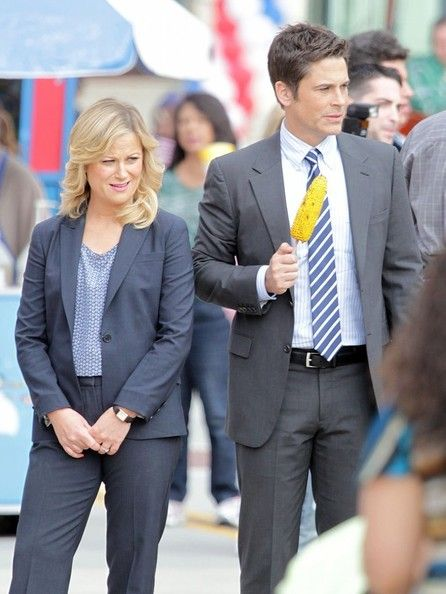 Actors Amy Poehler, Adam Scott, and Rob Lowe film scenes for 'Parks and Recreation' in Pasadena, California on March 6, 2013. Lucy Lawless and her husband Robert Tapert prepare to depart at LAX (Los Angeles International Airport). Source 1 Source 2