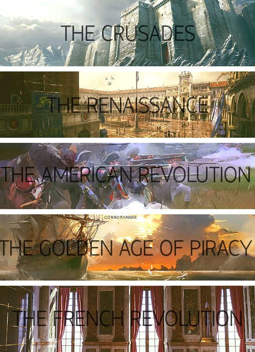 Different time periods in the Assassin's Creed games. SO MUCH YES