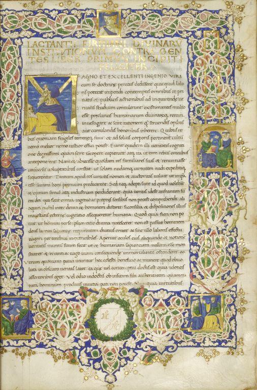 """Initial M: Portrait of Lactantius,"" Ser Ricciardo di Nanni, about 1456."