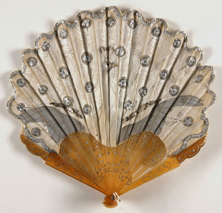 1900-1910, France - Fan painted by Adolphe Thomasse - Painted silk leaf, silver sequins; celluloid sticks and guards with steel-cut inlay