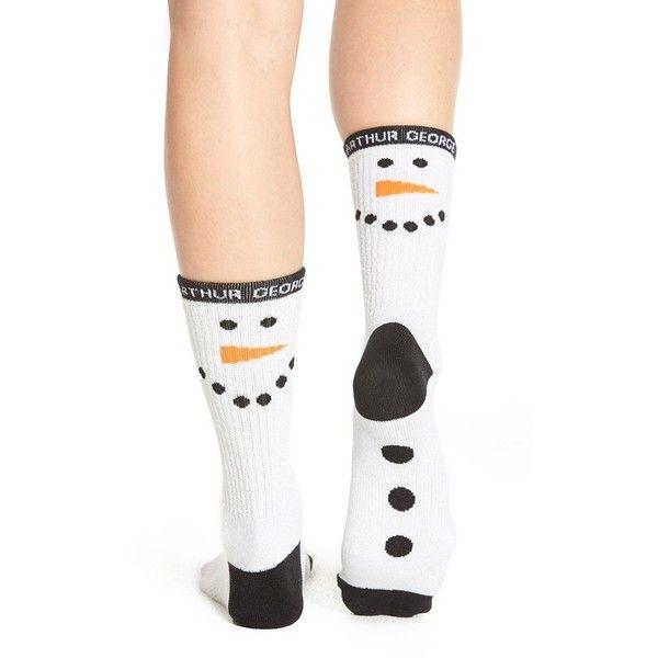 Arthur George by R. Kardashian 'Snowman' Crew Socks (£9.87) ❤ liked on Polyvore featuring intimates, hosiery, socks, white marled, crew socks, white crew socks, white hosiery, arthur george socks and white socks