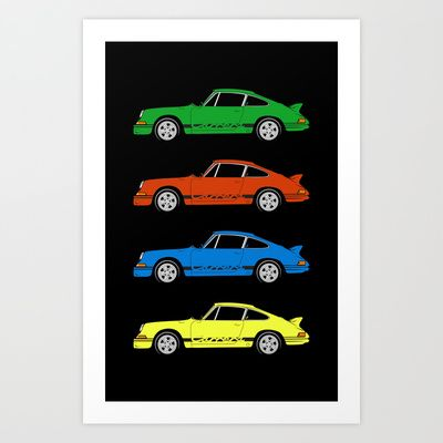 Porsche 911 Carrera RS 2.7 - Skittles Art Print by Voyager Shift - $17.00