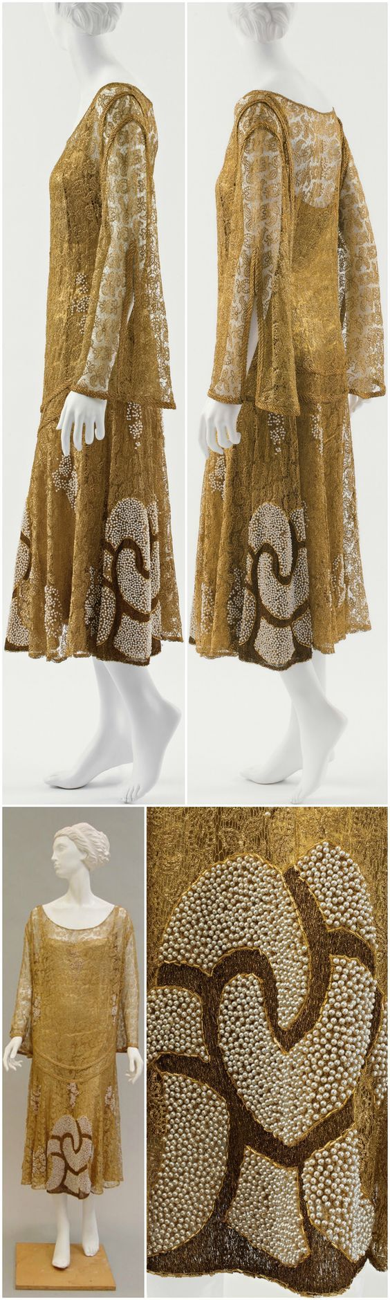Evening dress, by Paul Poiret, c. 1925, at the Metropolitan Museum of Art. Metallic, simulated pearls. CLICK THROUGH FOR BIGGER IMAGES.