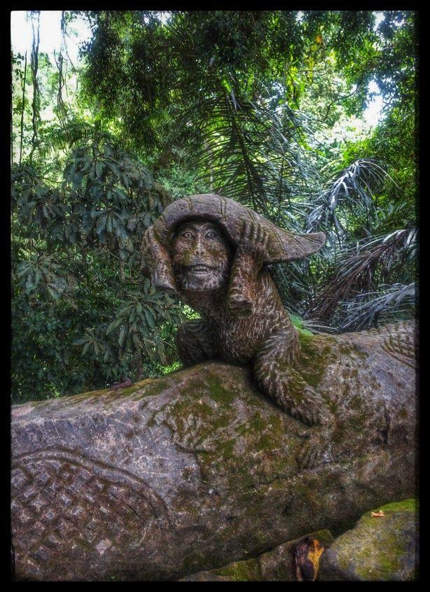 Monkey statue in Monkey Forest, Ubud