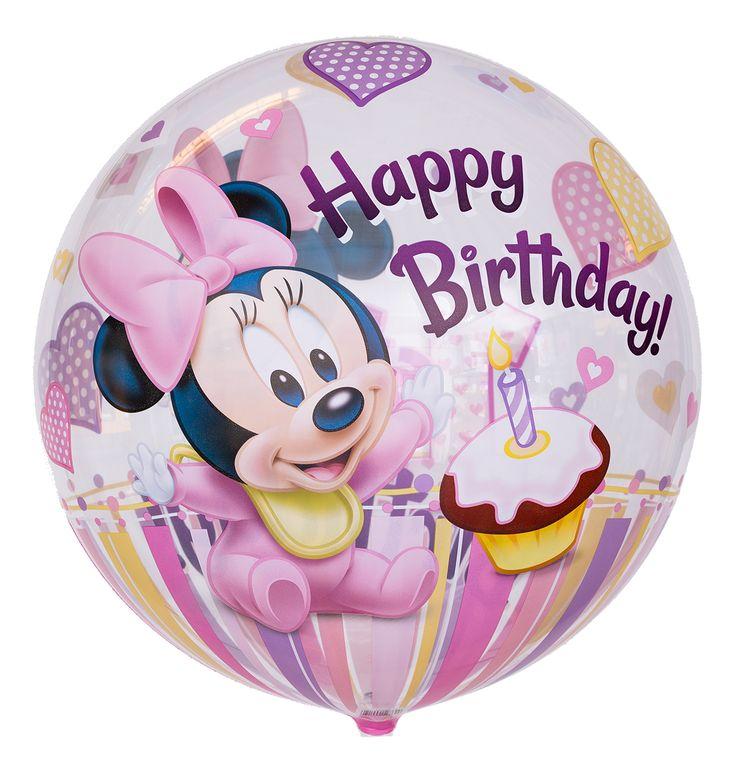 """Bubble Ballon zum 1. Geburtstag """"Happy Birthday Minnie Maus"""""""