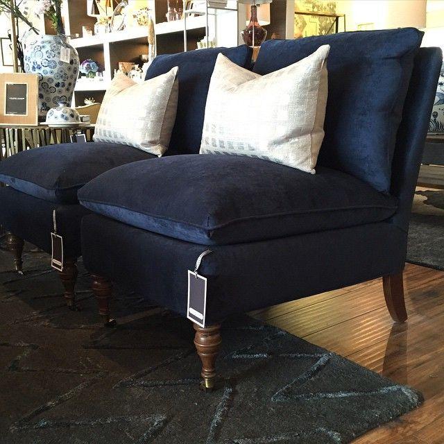 Beau wonderland By Alice Lane. Our Luxe Navy Velvet Slipper Chair Named Zondra.  Thereu0027s