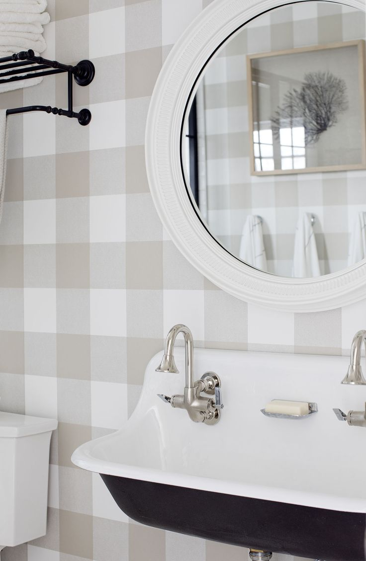 Khaki and White Buffalo Check Wallpaper | Large Farm Sink | Spare Bathroom Inspiration