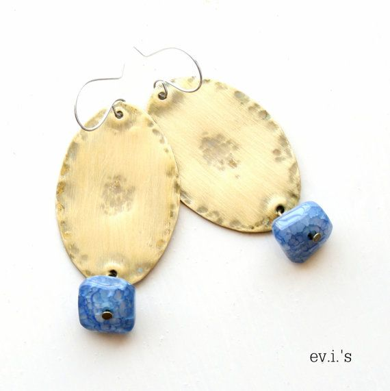 Blue Cracked Agate Nuggets Brass Earrings by EVIsMetalworkJewelry, €29.00