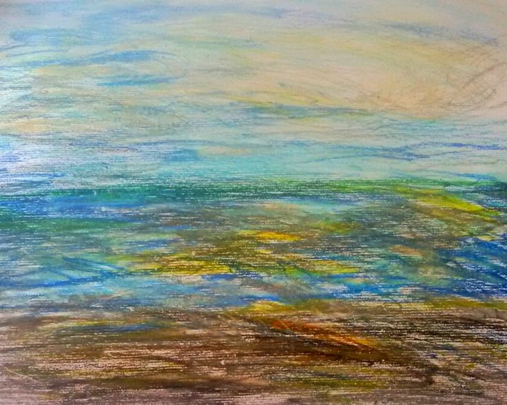 Italian Sea, mare. Sea. 2013. Oilpastel