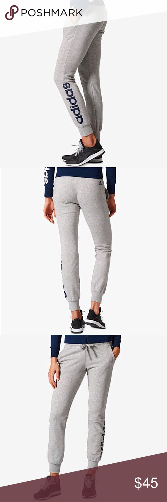 Addidas Linear Cuffed Pants NWT. These women's everyday sweat pants in heather gray are made in soft, breathable French terry and feature a slim fit. They come with a bold linear logo down the leg for a bright pop of color. Adidas Pants Track Pants & Joggers