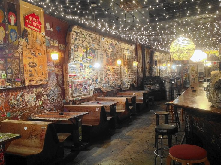 college dive bar: furniture, lighting, wall treatment