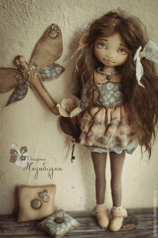 Купить Незабудка - голубой, незабудка, стрекоза, персиковый, текстильная кукла, коллекционная кукла, нежность, взгляд