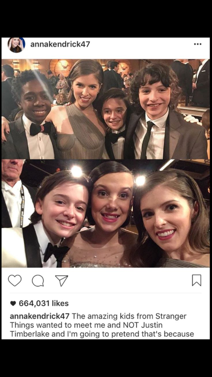 Anna Kendrick and the cast of stranger things at the golden globes