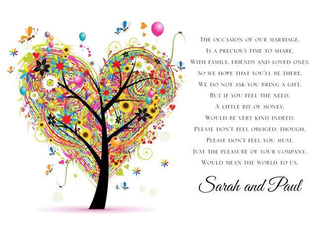 Monetary Wedding Gift Guidelines : poems wedding gift poem money wedding cards wedding fun wedding gifts ...