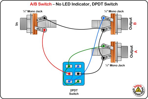 Dpdt Switch Wiring Diagram Guitar : A b switch wiring diagram no led dpdt diy
