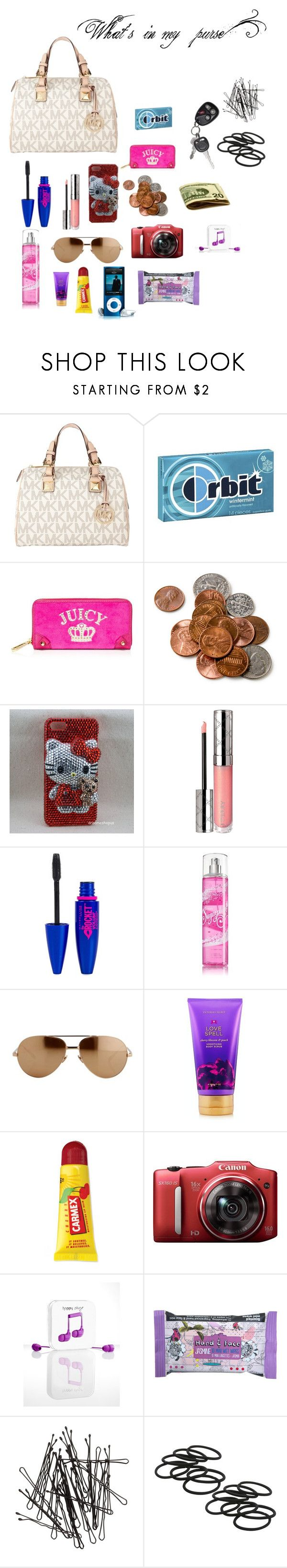 """""""What's in my purse?"""" by allme4life ❤ liked on Polyvore featuring MICHAEL Michael Kors, Wrigley's, Juicy Couture, Hello Kitty, By Terry, Maybelline, Linda Farrow Luxe, Victoria's Secret, Carmex and Happy Plugs"""