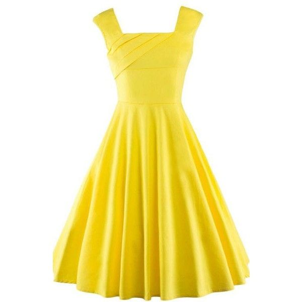 Vintage Square Neck Sleeveless Swing Dress AZBRO.COM ❤ liked on Polyvore featuring dresses, a line knee length dress, sleeveless dress, yellow a line dress, knee length dresses and tent dresses