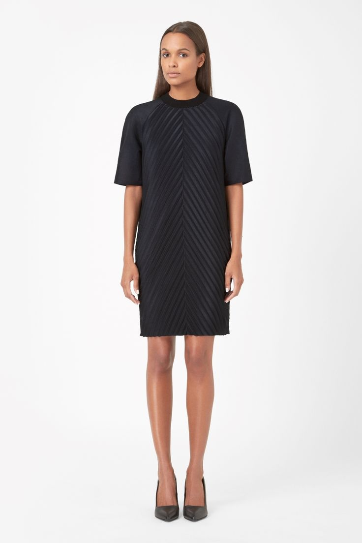 Made from crisp technical fabric, this dress has raised pleats on the front for a modern three-dimensional effect. A straight shape with a silky lining, it has a stretch ribbed neckline, hidden back zip fastening and clean raw-cut hemline.