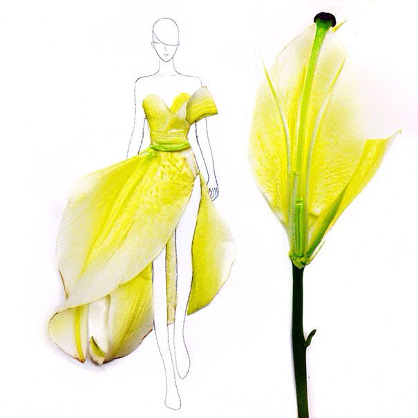 Grace Ciao, a 22-year-old student from Singapore, uses a clever and original way to draw her fashion design illustrations. Instead of ink, watercolours, pencils, or fabric, she uses real flower petals. Not only do they serve as substitutes for lines and colours, but they also introduce their own unique textures and forms.