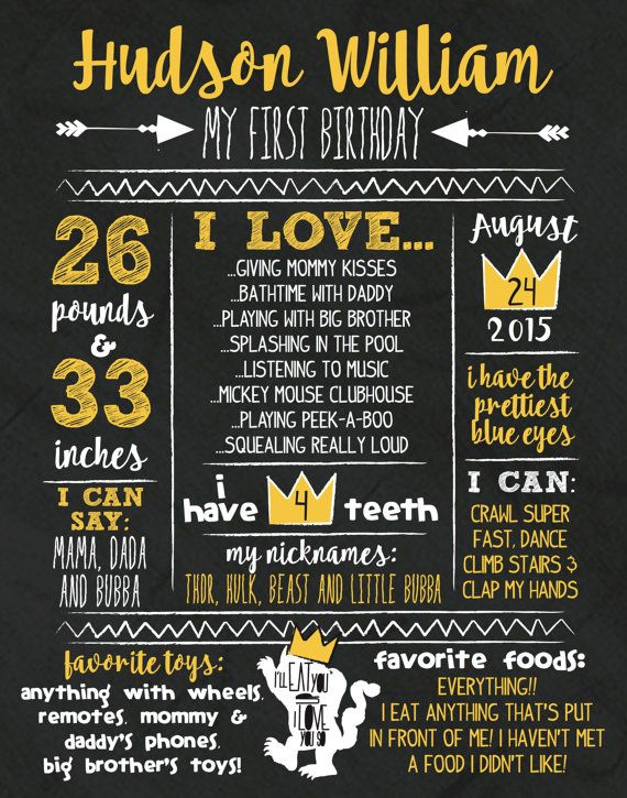 Where The Wild Things Are First Birthday Stats by KellyJoStudio